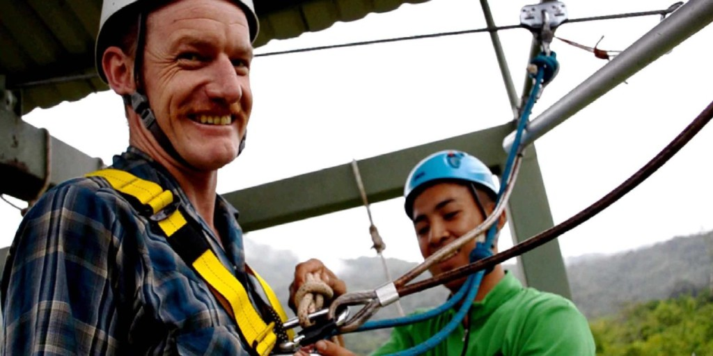 Getting ready for zipline or flying fox